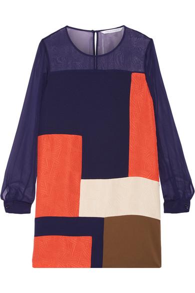 diane von furstenberg female 236621 diane von furstenberg reagan chiffonpaneled silk mini dress navy