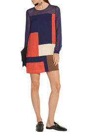 Diane von Furstenberg Reagan chiffon-paneled silk mini dress