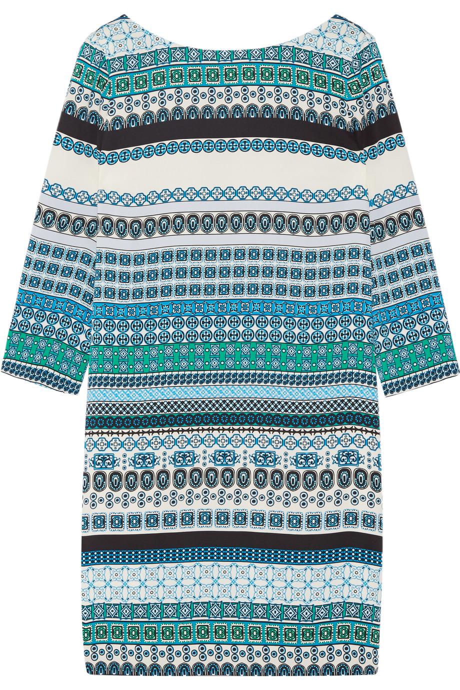 Diane Von Furstenberg Avery Printed Stretch-Silk Mini Dress, Blue, Women's - Printed, Size: 0