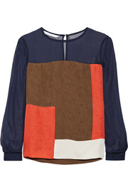 Diane von Furstenberg Raegan color-block silk top