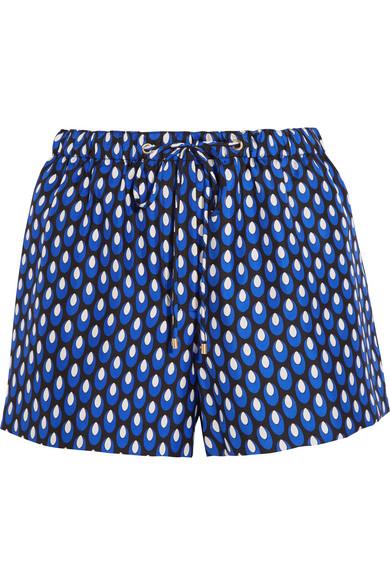 diane von furstenberg female 236621 diane von furstenberg liri printed silktwill shorts navy