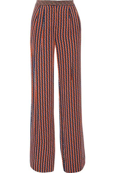 diane von furstenberg female 236621 diane von furstenberg campbell printed stretchsilk wideleg pants navy