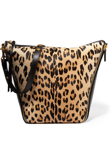 7ce2cd67f09e Mulberry. Camden leopard-print calf hair and leather shoulder bag