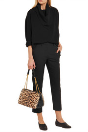 Winsley leather-trimmed leopard-print calf hair shoulder bag