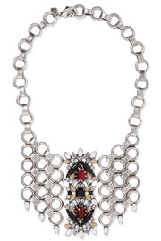 Alessio oxidized silver-plated Swarovski crystal necklace