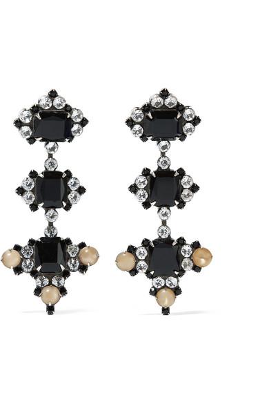 DANNIJO - Avila Oxidized Silver-plated Swarovski Crystal Earrings - one size