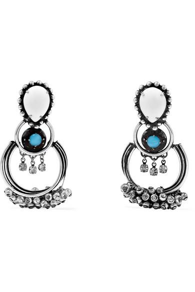 DANNIJO - Florence Oxidized Silver-plated Swarovski Crystal Earrings