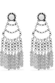 Dolci tasseled beaded silver-plated earrings