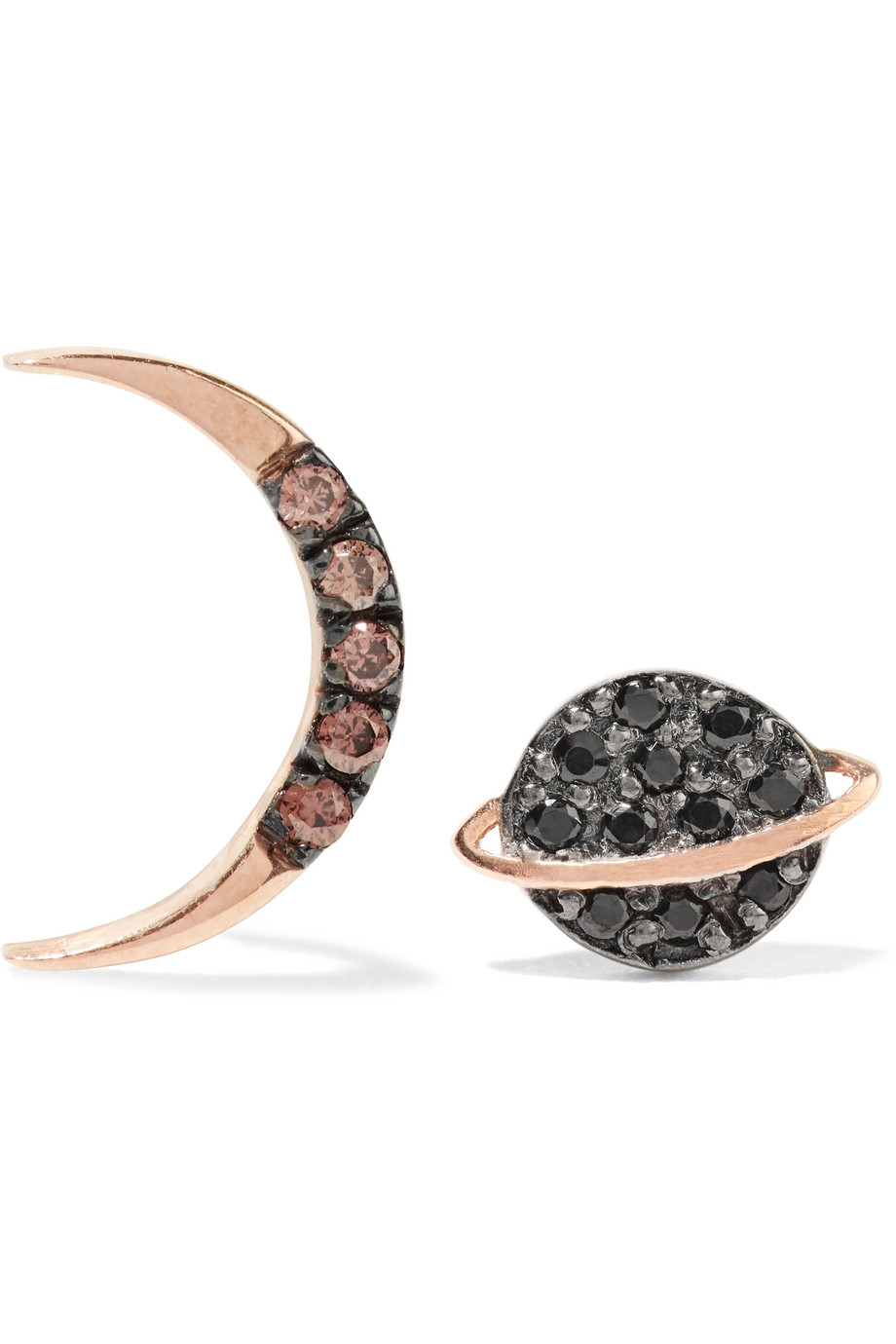 Saturn Half Moon Rose Gold-Plated Zircon Earrings, Rose Gold/Black, Women's