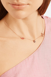 Kiss U Forever rose gold-plated, enamel and topaz necklace