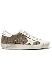 Super Star distressed croc-effect leather sneakers