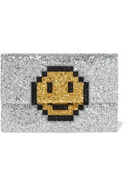 Valorie glittered canvas clutch