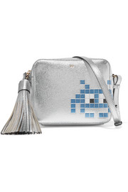Space Invaders metallic textured-leather shoulder bag