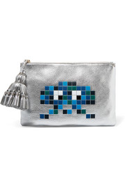 Georgiana embossed metallic textured-leather pouch
