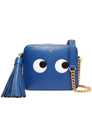 Eyes embossed leather shoulder bag