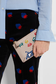 Pocket printed textured-leather pouch