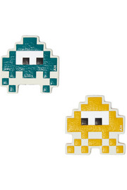 Space Invader set of two textured-leather stickers