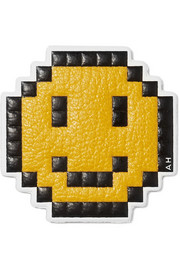 Pixel Smiley textured-leather sticker