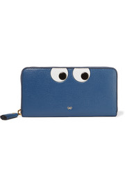 Eyes embossed textured-leather wallet