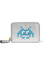 Space Invaders metallic textured-leather wallet