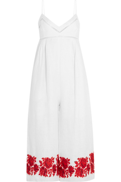 zimmermann female 45883 zimmermann roza embroidered linen jumpsuit white