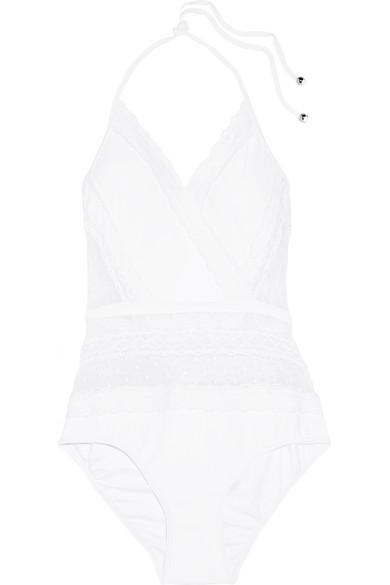 zimmermann female 45883 zimmermann zephyr crochettrimmed point despritpaneled swimsuit white