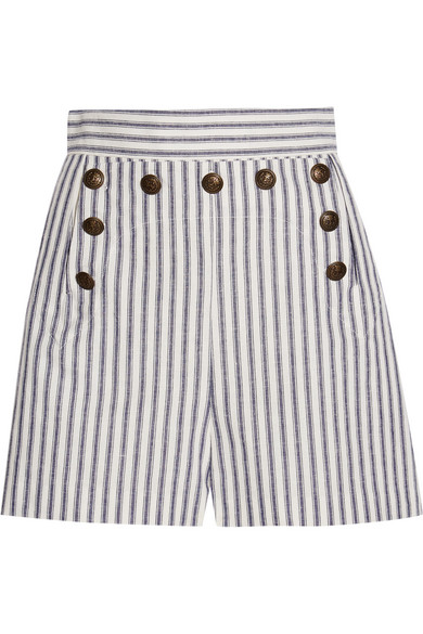 zimmermann female 201920 zimmermann zephyr striped cotton and linenblend shorts blue