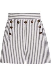Zephyr striped cotton and linen-blend shorts