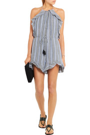 Zephyr ruffled cotton and linen-blend playsuit