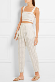 Zimmermann Zephyr cropped broderie anglaise cotton and silk-blend top