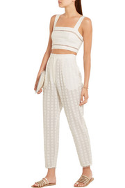 Zimmermann Zephyr broderie anglaise cotton and silk-blend tapered pants