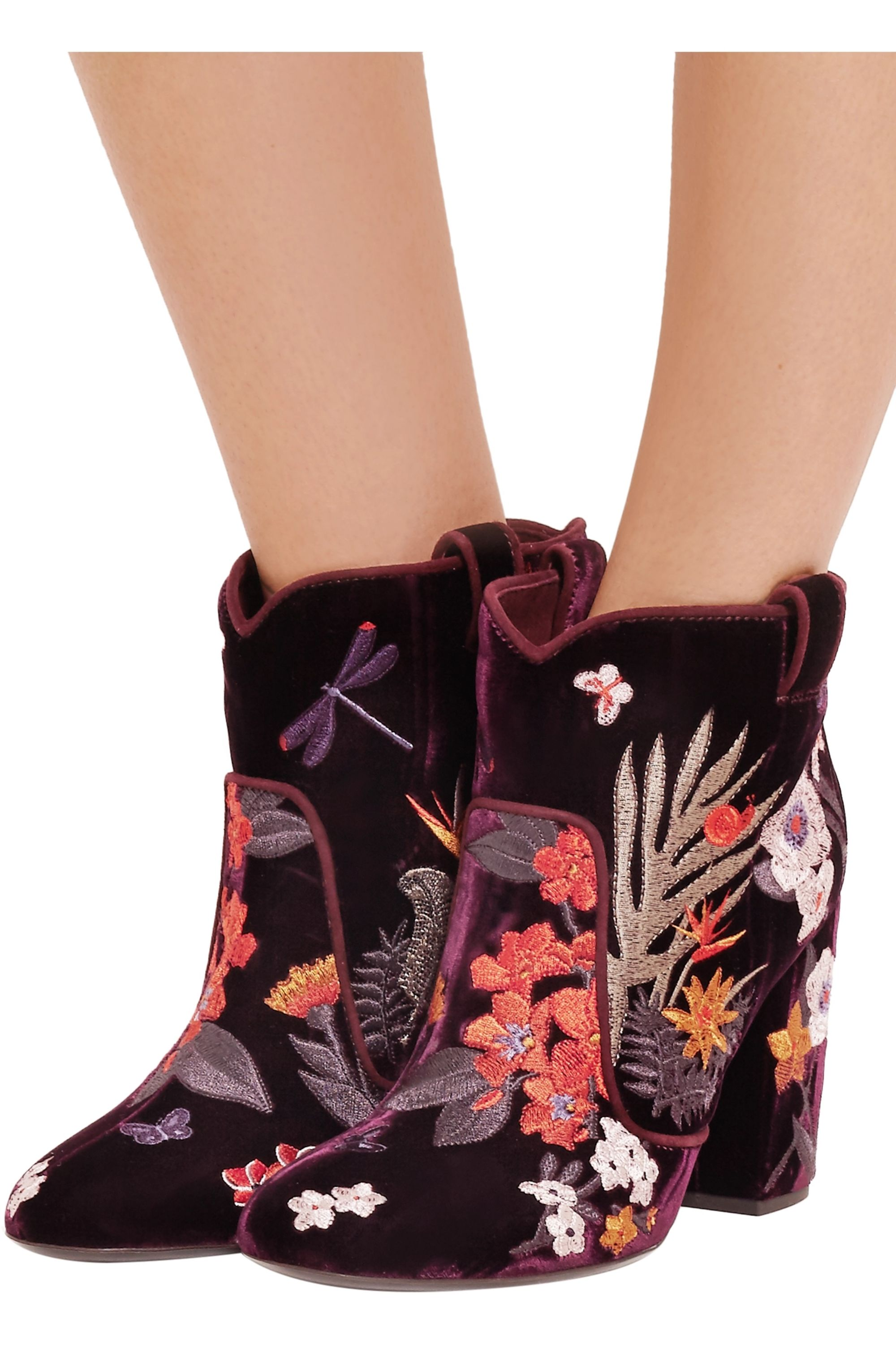 Laurence Dacade Pete embroidered velvet ankle boots