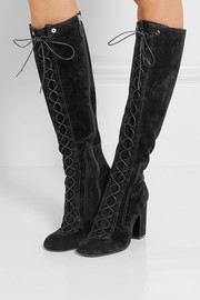 Mina lace-up suede knee boots