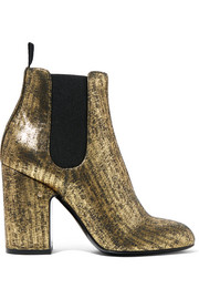 Mila metallic brushed-leather ankle boots