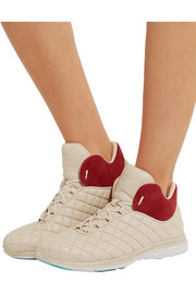 Lusso suede-paneled quilted leather high-top sneakers