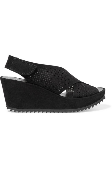 pedro garcia female 188971 pedro garcia frigg perforated suede wedge sandals black