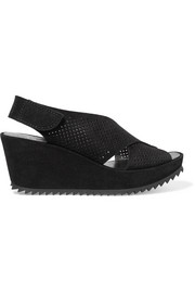 Pedro Garcia Frigg perforated suede wedge sandals