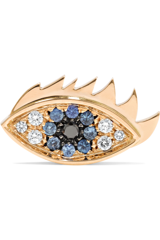 Delfina Delettrez 18-karat gold, diamond and sapphire earring