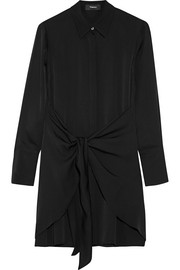 Theory Talbilla knotted silk crepe de chine shirt dress