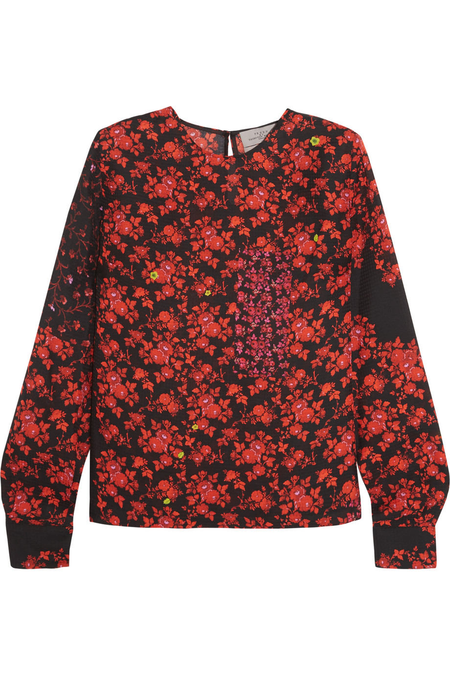 Kira Floral-Print Hammered-Silk Top, Preen by Thornton Bregazzi, Red, Women's, Size: L