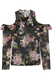 Tilly cutout floral-print devoré-chiffon top