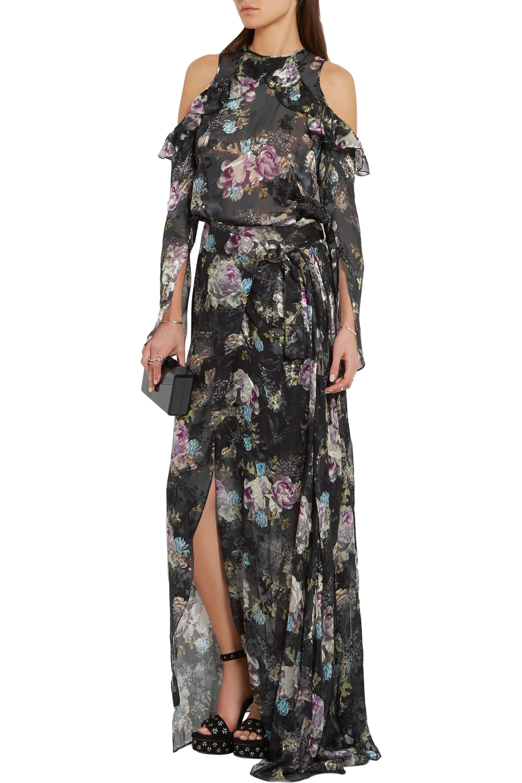 Preen by Thornton Bregazzi Adria floral-print devoré-chiffon maxi skirt
