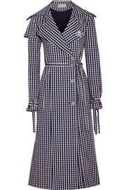 Jette crystal-embellished gingham twill trench coat