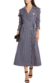 Preen by Thornton Bregazzi Jette crystal-embellished gingham twill trench coat