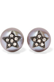 Carolina Bucci Superstellar 18-karat black gold, pearl and diamond earrings