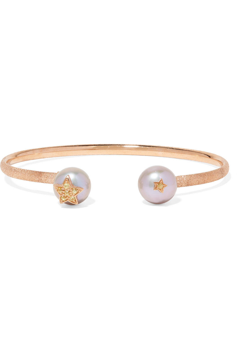 Carolina Bucci Superstellar 18-Karat Rose Gold, Pearl and Sapphire Cuff, Women's