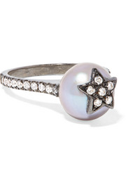 Carolina Bucci Superstellar 18-karat black gold, pearl and diamond ring