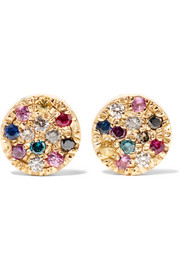 Carolina Bucci Looking Glass 18-karat gold, sapphire and diamond earrings