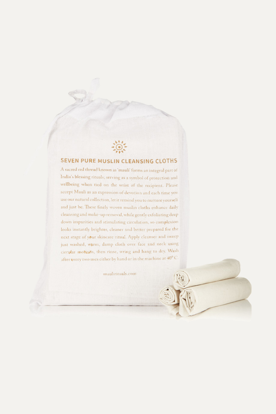 Mauli Rituals Set of seven pure muslin cleansing cloths