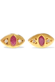 Cat Eye gold-plated, ruby and diamond earrings